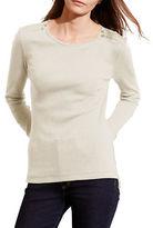 Lauren Ralph Lauren Zip-Shoulder Cotton Top