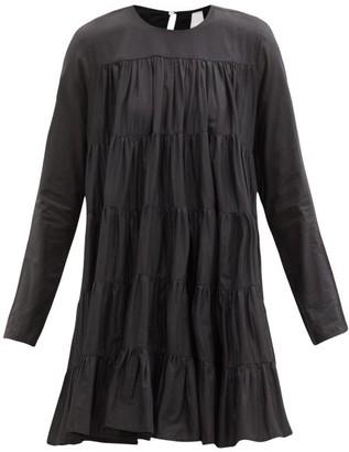 Merlette New York Soliman Tiered Cotton Mini Dress - Black