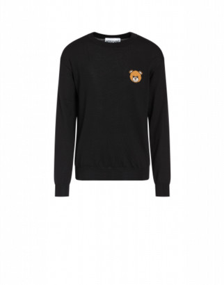 Moschino Wool Pullover With Teddy Bear Man Black Size 44 It - (34 Us)