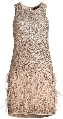 Parker Black Allegra Sequin & Feather Shift Dress