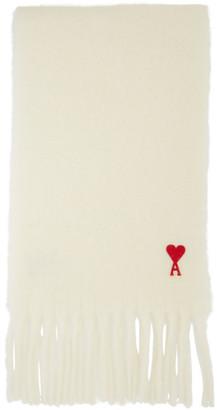 Ami Alexandre Mattiussi Off-White Mohair Heart Logo Scarf
