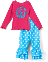 Beary Basics Turquoise Deer Long-Sleeve Tee & Ruffle Pants - Toddler & Girls