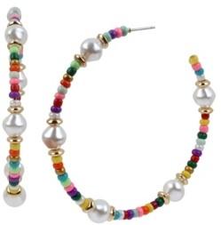 Jessica Simpson Mixed Beaded Hoop Earrings