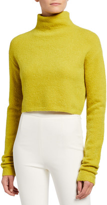 Sally LaPointe Wool-Blend Boucle Cropped Turtleneck Sweater