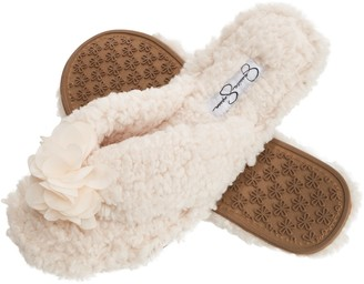Jessica Simpson Fluffy Pom Pom Thong House Slide On Slippers With Memory Foam
