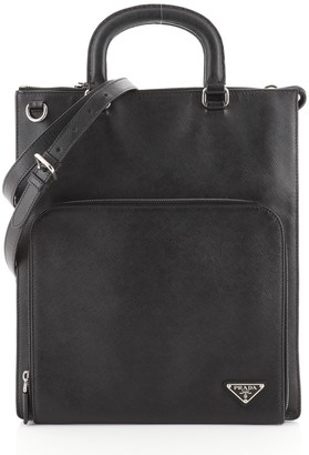 Prada Convertible Front Pocket Flat Tote Saffiano Leather Tall