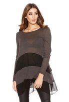 Quiz Grey And Black Light Knit Dip Side Top