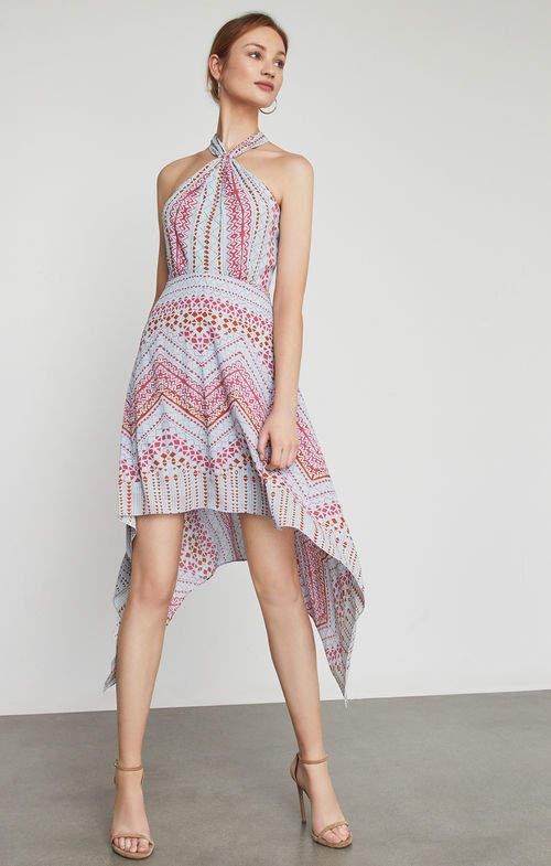 BCBGMAXAZRIA Danela Halter-Neck Geometric Print Dress