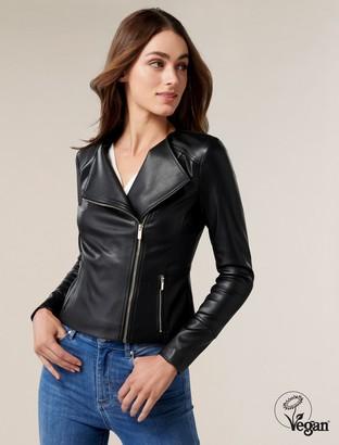 Forever New Nina Collarless Biker Jacket - Black - 4