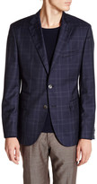 HUGO BOSS Johnston Blue Plaid Two Button Notch Lapel Wool Suit Separates Jacket