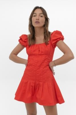 Finders Keepers Pleated Mini Dress - Red XS at Urban Outfitters