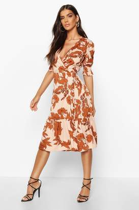 boohoo Woven Floral Sheered Sleeve Midi Tea Dress