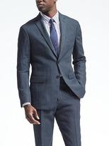 Banana Republic Slim Navy Houndstooth Linen Suit Jacket