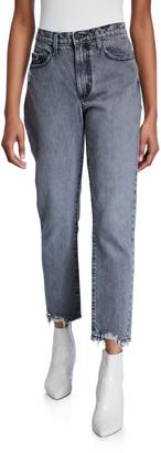 Nobody Denim Bessette High-Rise Straight Jeans w/ Chewed Hem