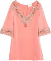 Marchesa Embellished silk top