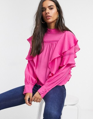 Vero Moda blouse with high neck and ruffle trim in pink