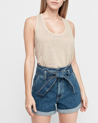 Express Super High Waisted Paperbag Tie Jean Shorts