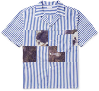 Nanamica Camp-Collar Patchwork Striped Poplin Shirt