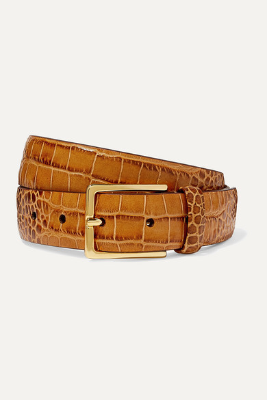 Thumbnail for your product : Andersons Croc-effect Leather Belt - Tan
