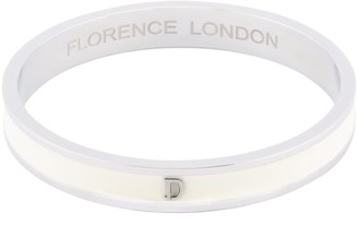 Florence London Initial D Bangle Silver Trim With White Enamel