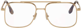 Victoria Beckham Gold and Tortoiseshell Aviator Glasses