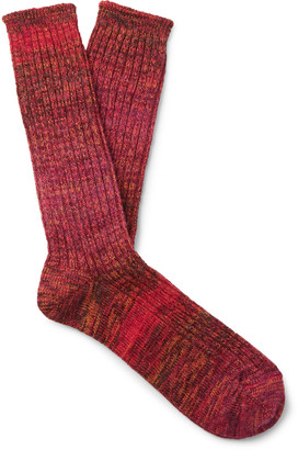 Mr P. Ribbed Ombre Cotton-Blend Socks