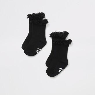 River Island Mini girls Black lace frill socks 2 pack