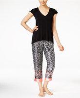 Oscar de la Renta Knit Top and Border-Print Charmeuse Pants Pajama Set