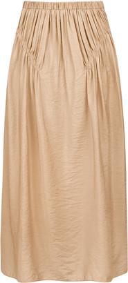 Anna October Liz Smocked Crepe Midi Skirt