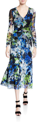 Fuzzi Floral V-Neck Long-Sleeve Shirred Front Midi Dress