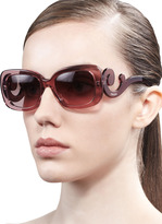 Prada Curved-Temple Sunglasses, Pink