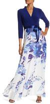 Chetta B Surplice V-Neck Waist Tie Print Skirt Maxi Dress