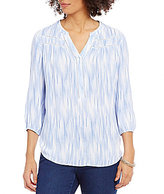 Intro Y-Neck 3/4 Sleeve Printed Peasant Top