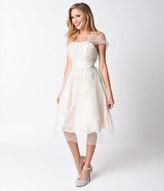 Unique Vintage Preorder Ivory Shimmer Charisse One Shoulder Mesh Dress