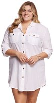 Dotti Plus Size Sunny Stripe Shirt Dress 8155380