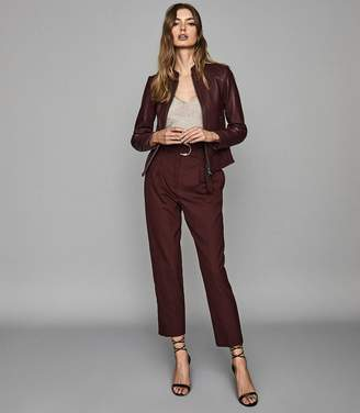 Reiss ALLIE LEATHER COLLARLESS BIKER JACKET Pomegranate