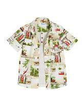 Mayoral Short-Sleeve Woven Beach Shirt w/ Henley, Size 3-7