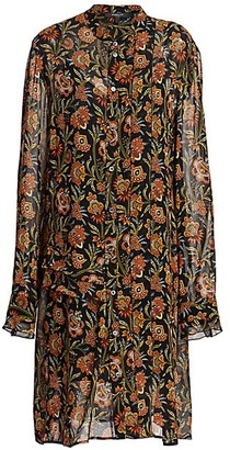 Derek Lam Floral Pleat-Sleeve Silk Midi Shirtdress