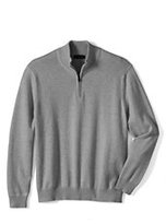 Lands' End Men's Big Performance Half-zip Elbow Patch Cotton Sweater-Pewter Heather
