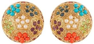 Susan Caplan Vintage 1980s Vintage Dorlan Swarovski Crystal Round Clip-on Earrings