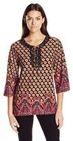 Notations Women's 3/4 Angle Sleeve Crochet Neck Printed Pullover