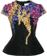 Oscar de la Renta Embellished Wool and Silk-Blend Top