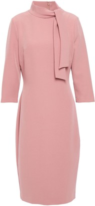 Badgley Mischka Tie-neck Crepe Dress