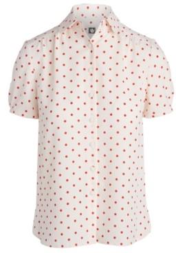 Anne Klein Dot-Print Shirred-Sleeve Top
