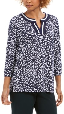 Charter Club Printed Crochet-Trim Tunic Top, Created for Macy's