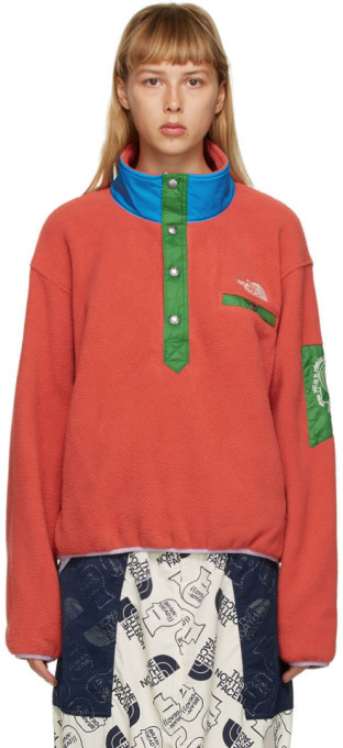 Brain Dead Red The North Face Edition Fleece Pullover Sweatshirt