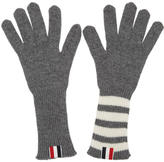 Thom Browne Grey Rib Cashmere Four Bar Gloves