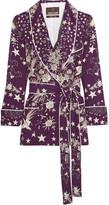 Roberto Cavalli Pretty Thing Double-breasted Printed Silk Jacket - Dark purple