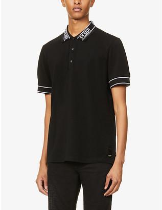 Fendi Branded-collar regular-fit cotton-pique polo shirt