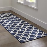 Crate & Barrel Arlo Blue Indoor/Outdoor Rug Runner
